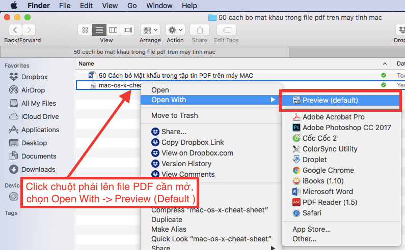 cach bo mat khau tap tin pdf mac