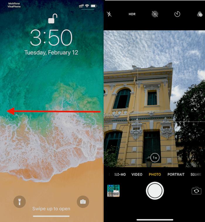 Hình 1: mở Màn hình iPhone bằng cách trượt ngón tay trên màn hình từ phải qua trái