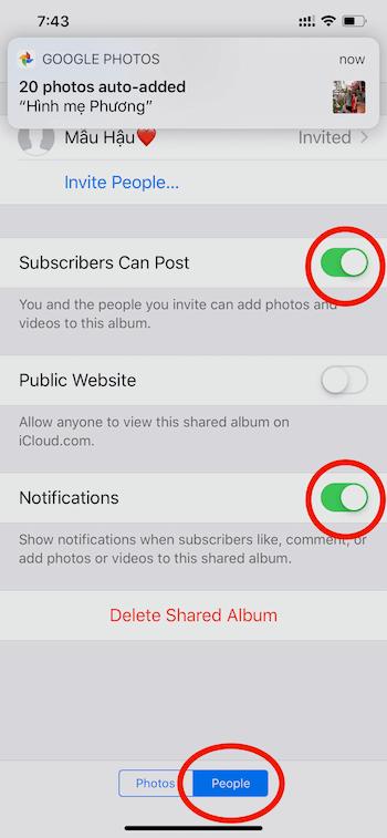 Hình 6: Bật ON chức năng Subscribers Can Post và Notifications