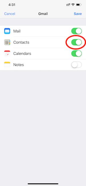 Hình 04: Bật chức năng đồng bộ danh bạ giữa Gmail với iPhone