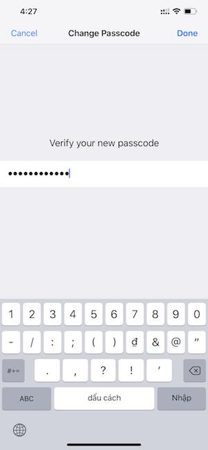 Hình 05: Nhập lại Password xác minh