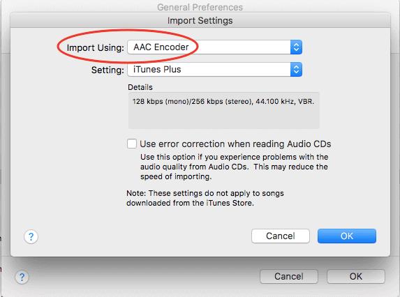 Hình 08: Chọn AAC Encoder khi chuyển từ đĩa nhạc CD vào iTunes