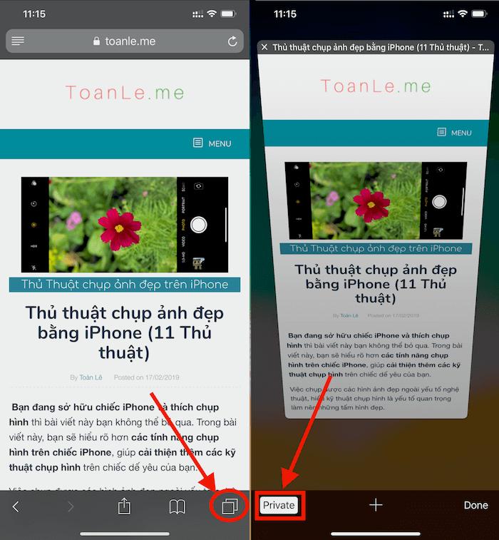 Hình 11: Truy cập website ở chế độ riêng tư