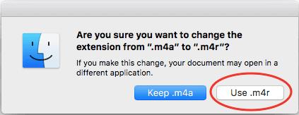 Hình 12: Xác nhận đổi đuôi file nhạc từ .m4a thành .m4r
