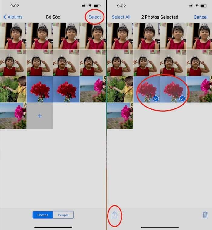 Hình 15 Chọn ảnh cần lưu trong album chia sẻ