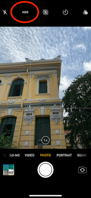 Hình 21b: Chọn chế độ chụp HDR trên màn hình Camera