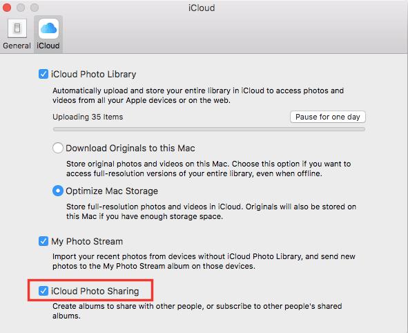 Hình 22: Bật ON chức năng chia sẻ Album (Shared Album) trên máy tính Mac