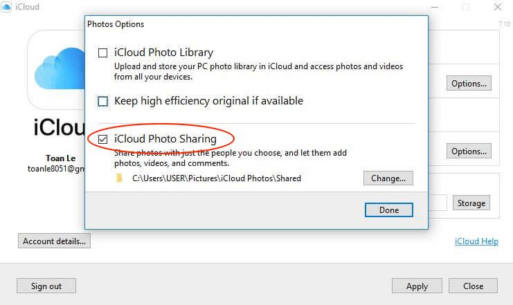 Hình 26: check chọn chức năng iCloud Photo Sharing