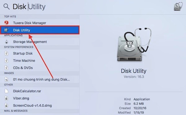 01 mo ung dung Disk Utility