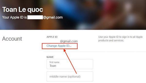 07 cham vao chon change Apple ID