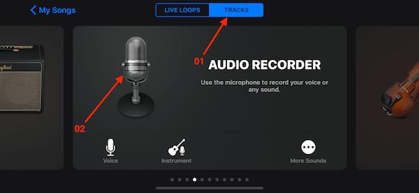 03 chon chuc nang audio recorder