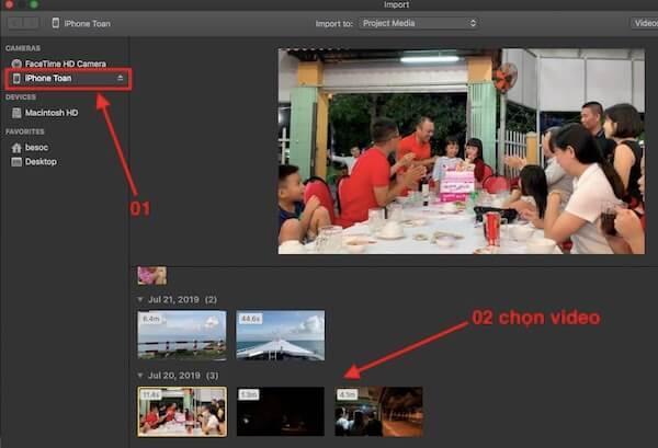 03 chon video de import vao iMovie