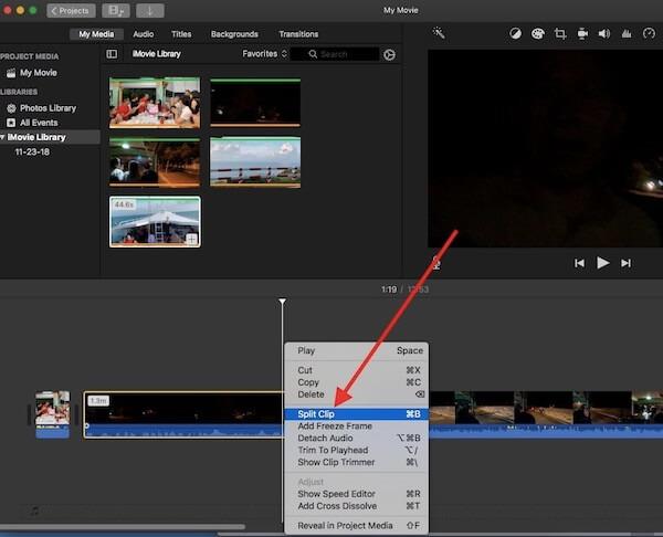 10 click nut phai va chon split clip de cat video