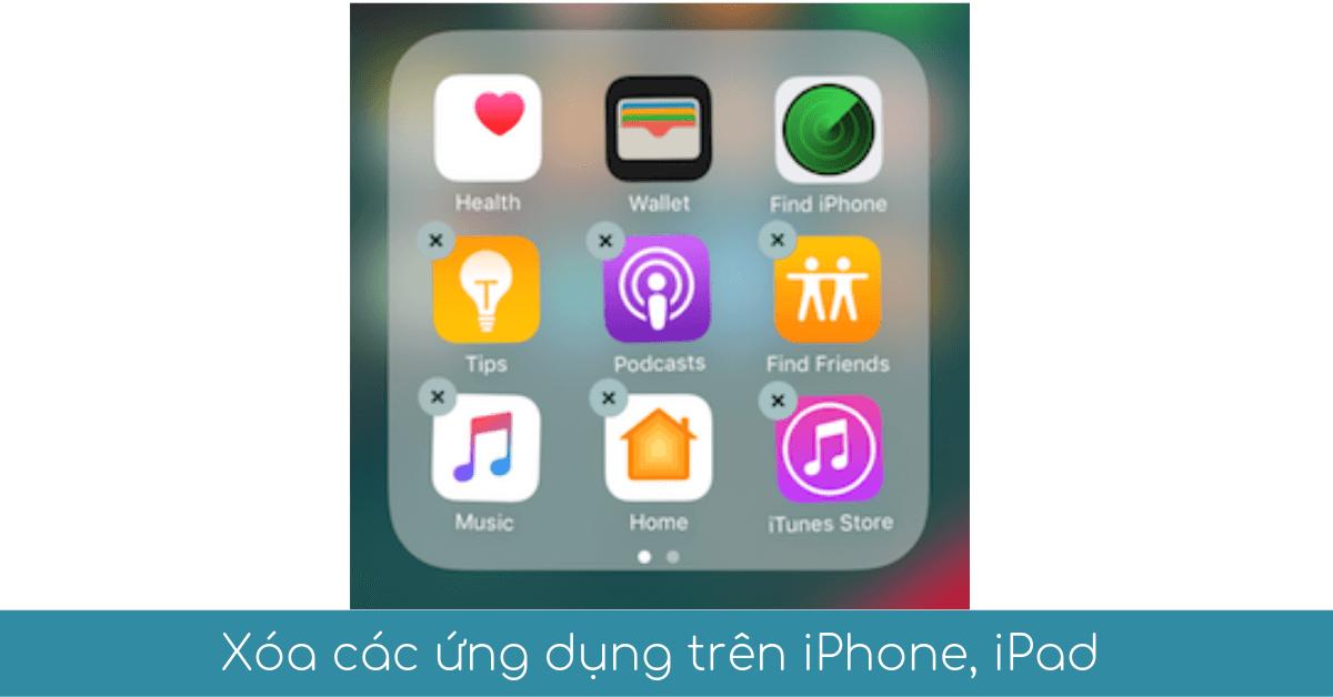 xoa cac ung dung tren iphone ipad