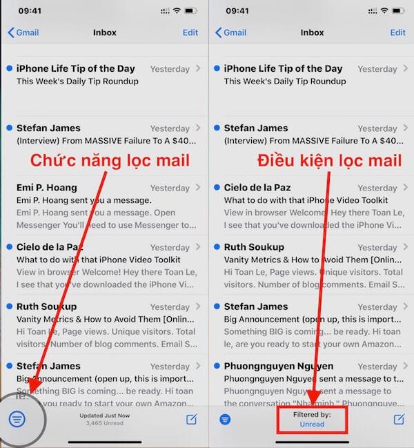 01 chon chuc nang loc mail