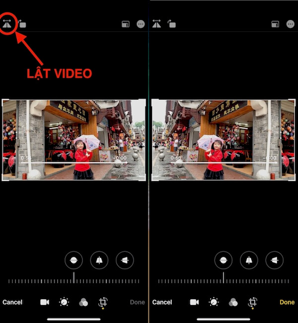 lật video iPhone iOS 13
