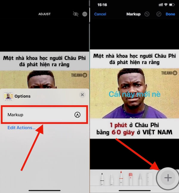 03 chon markup va dau cong de chen chu vao anh
