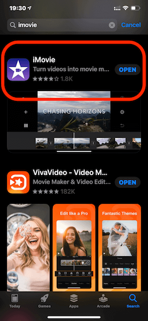 01 cai dat app imovie ve iphone